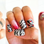Snow Zebras and Bleeding Hearts Manicure