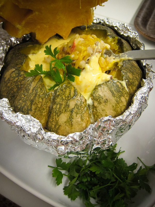 Baked Pumpkin Brown Rice with Seafood and Cream Sauce