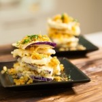 Recipe :: Tempura Eggplant and Mountain Yam with Pork Floss